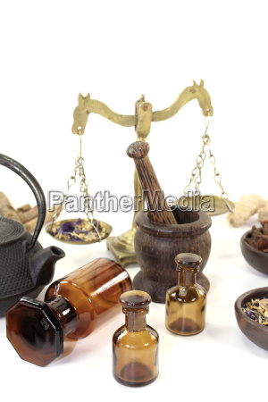 chinese medicine with mortar and jug