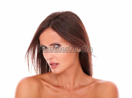 angry latin woman looking at camera