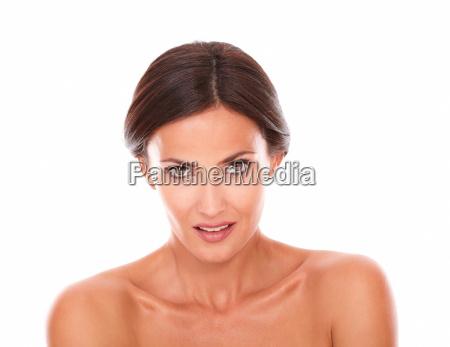 adult latin female looking at camera