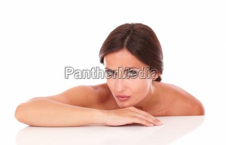 charming young woman looking at camera