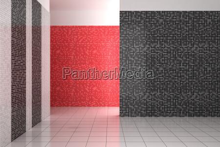 empty modern bathroom with black white