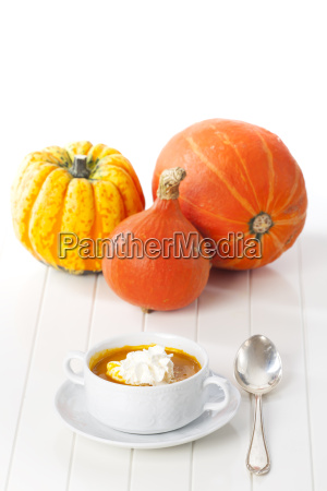 pumpkin soup on white background