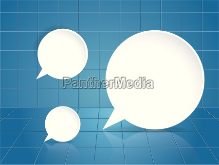 round speech bubble on blue tile