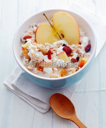delicious homemade muesli with fruit and