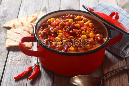 spicy meaty recipe on red pot