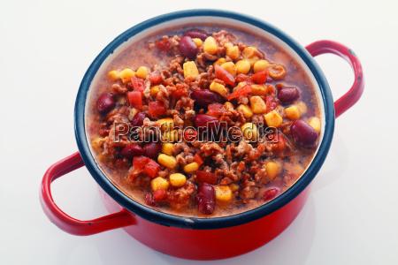 tasty main dish recipe on red