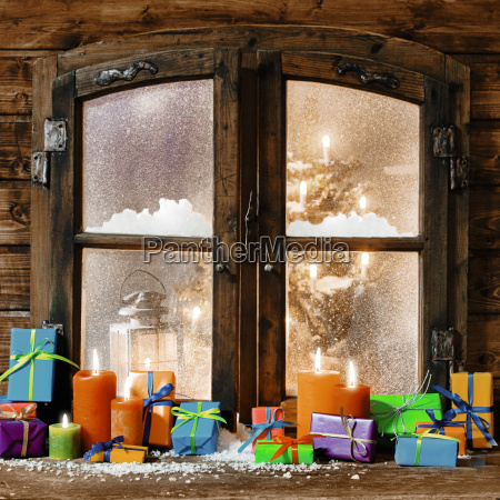 colorful christmas gifts on a windowsill