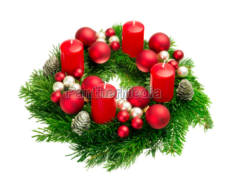 advent wreath on white