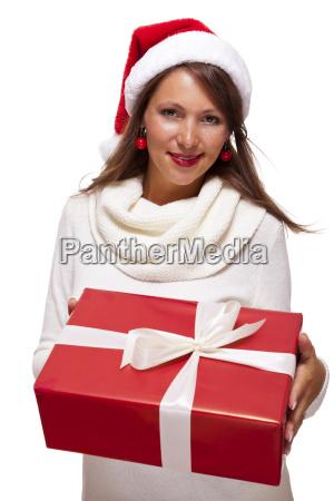 pretty brunette woman with santa hat