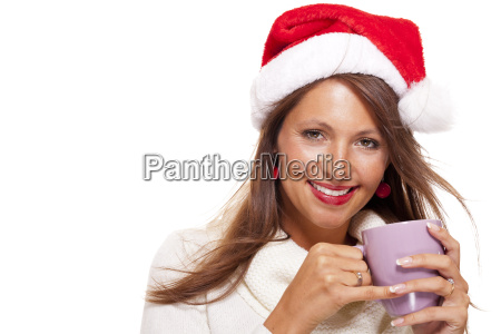 attractive young woman with red santa