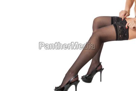 sensual portrait of slender female legs