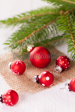 beautiful red christmas baubles with small
