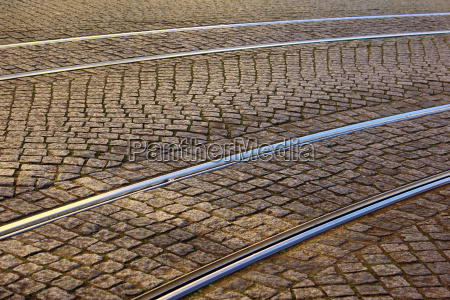 tram rail lisbon portugal