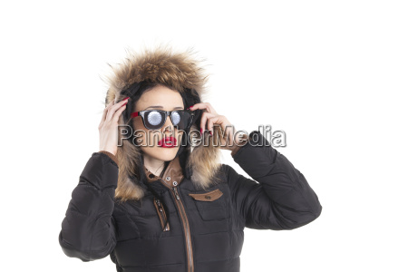 woman with sunglasses in a winter