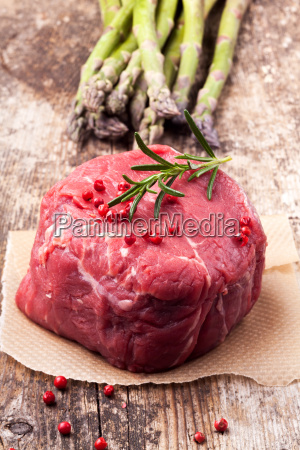 raw, steak, with, asparagus, on, wood - 12675522