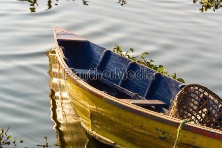 boat on phewa lake in pokhara