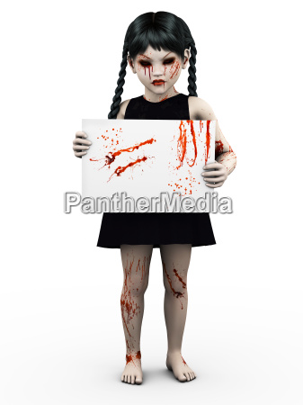 a gothic blood covered small girl