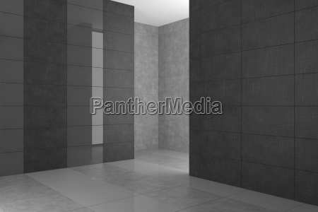 empty modern bathroom with gray tiles