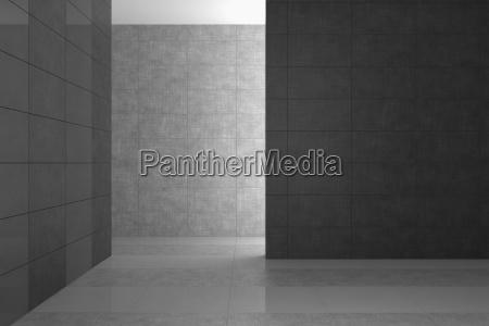 empty modern bathroom with gray tiles