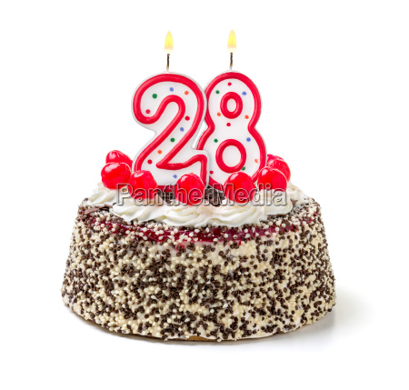 birthday cake with burning candle number