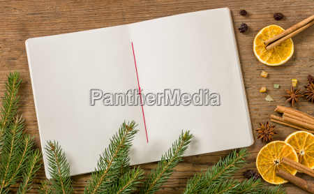 empty recipe book with christmas decoration
