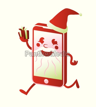 smartphone santa claus cartoon character buy