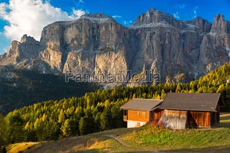 alpin hut at passo pordoi with