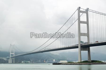 tsing ma bridge in mist