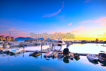 yachts in the golden coast sunset