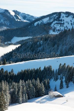 cabin in winter in the alps