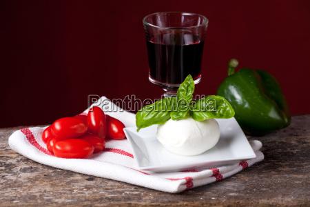 tomato mozzarella basil and wine