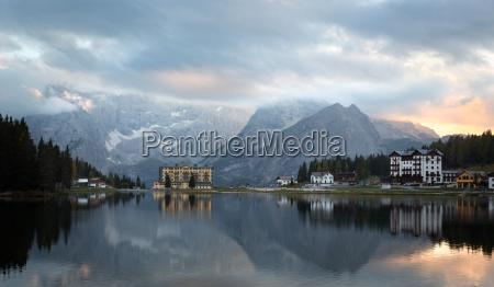 reflection at lago misurina at dawn