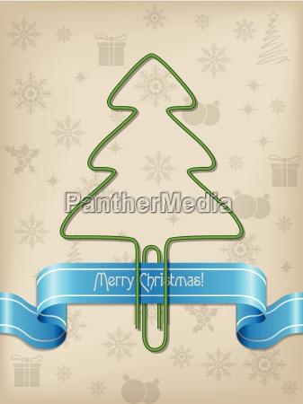 christmas greeting with christmas tree paper