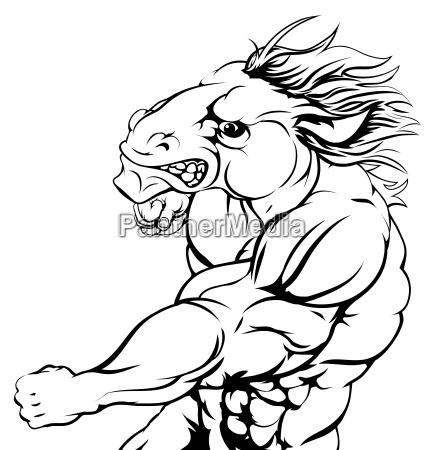punching horse mascot