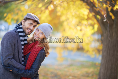 happy couple in autumn