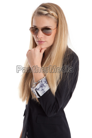 thoughtful woman with sunglasses
