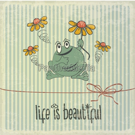 retro illustration with happy frog and