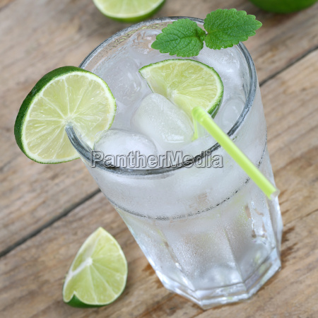 water or lemonade drink with ice