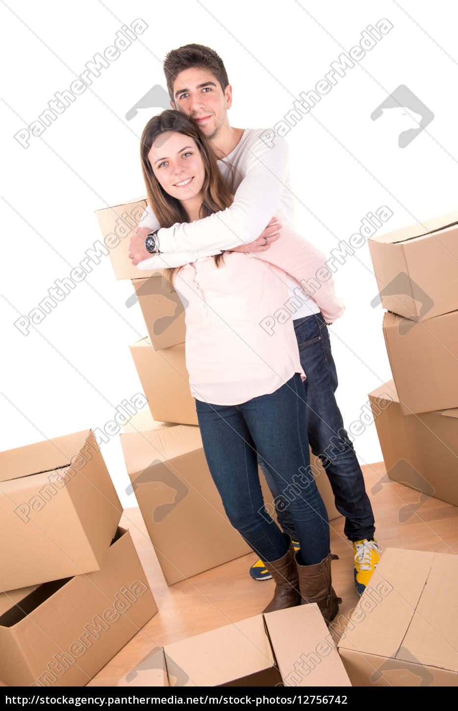 happy, couple, with, boxes - 12756742
