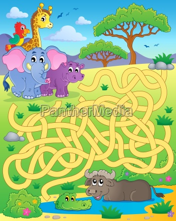 maze 16 with tropical animals