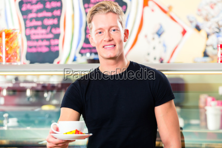 waiters working in ice cream parlor