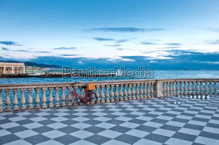 terrace and mediterranean sea in livorno