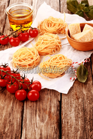 fresh pasta on table with cheese