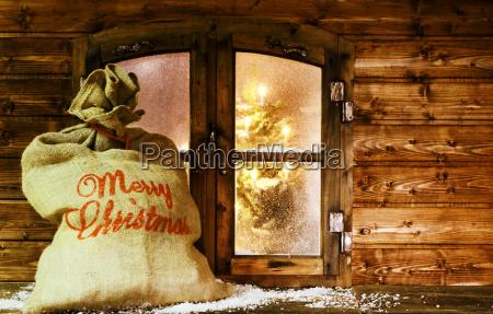 santa, sack, at, vintage, wooden, window - 12761924