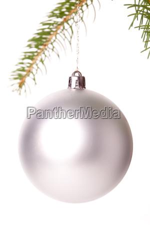 traditional christmas ball hung on a