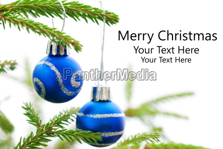 christmas fir tree with two blue