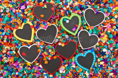 small heart panels on confetti