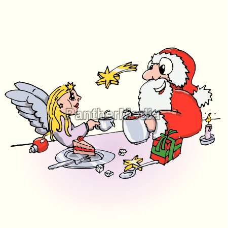 santa claus and angels in coffee