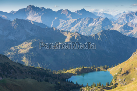 seealpsee and mountains in the allgaeu