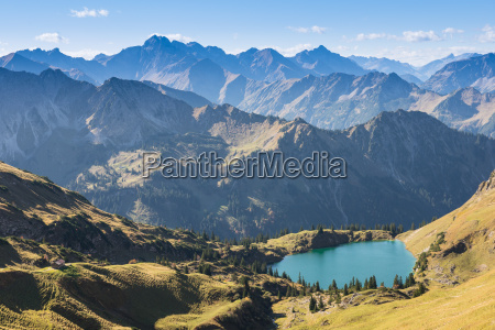 lake with mountains in the allgaeu